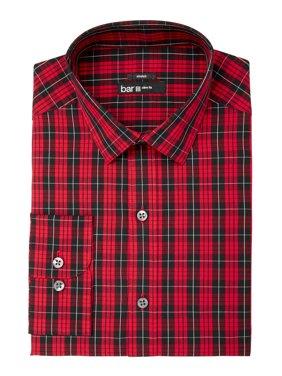 14f8fbb0 Product Image Bar III Mens Medium 15-15 1/2 Slim Stretch Plaid Dress Shirt