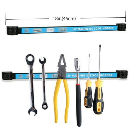18' Magnetic Display Bar - 18 Inch Magnetic Tool Holder Organizer, Magnetic Knife Holder & Space-Saving Strip for Kitchen Knives & Utensils, Office, Craft, Bar, Garage & Workshop Tools Wall Rack