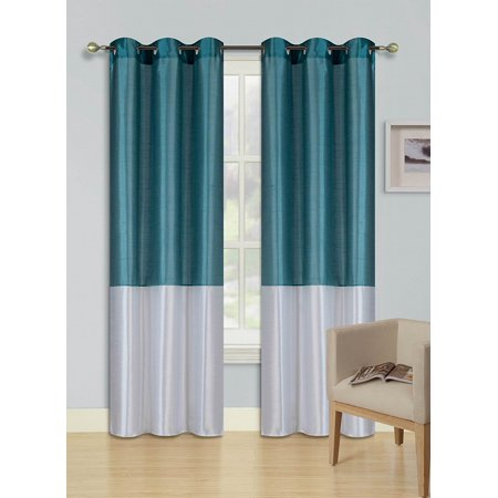 1pc TEAL BLUE WHITE (EID) LINED FOAM BACKING BLACKOUT Faux Silk Drape Panel Top Chrome Metallic Grommet Window Curtain Treatment Drape 2 Shade 37 wide x 95 length