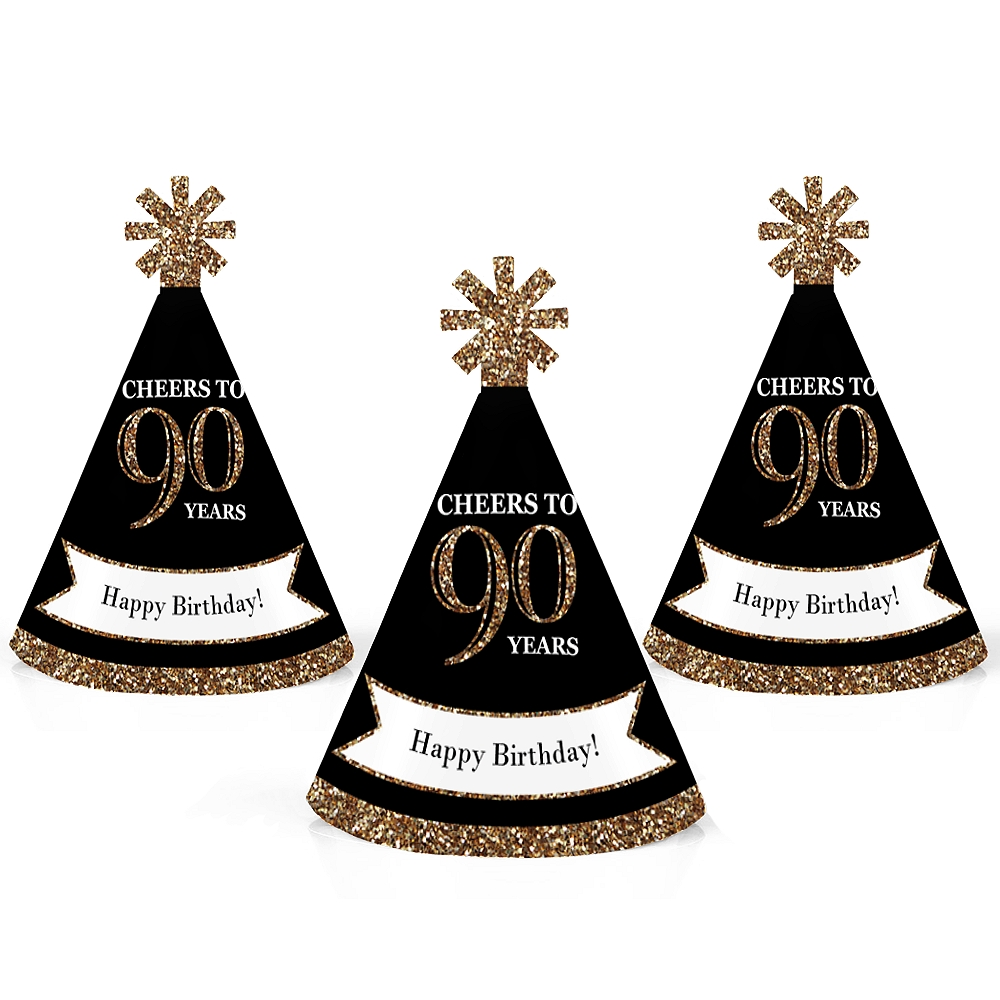 Adult 90th Birthday - Gold - Mini Cone Birthday Party Hats - Small Little Party Hats - Set of 10