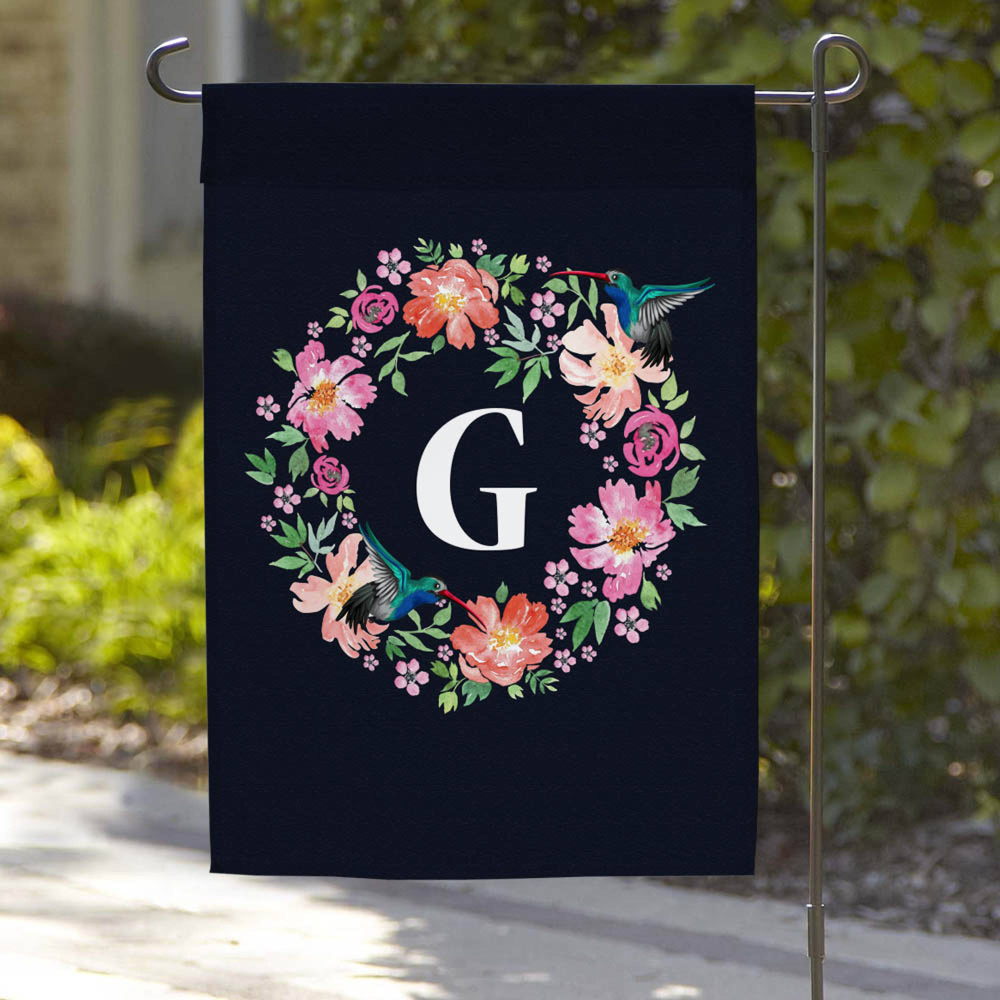 "Personalized Hummingbird Wreath Garden Flag, 18"" x 12"""