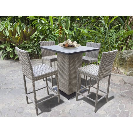 Oasis 5 Piece - TK Classics Oasis Wicker 5 Piece Outdoor Pub Table Set