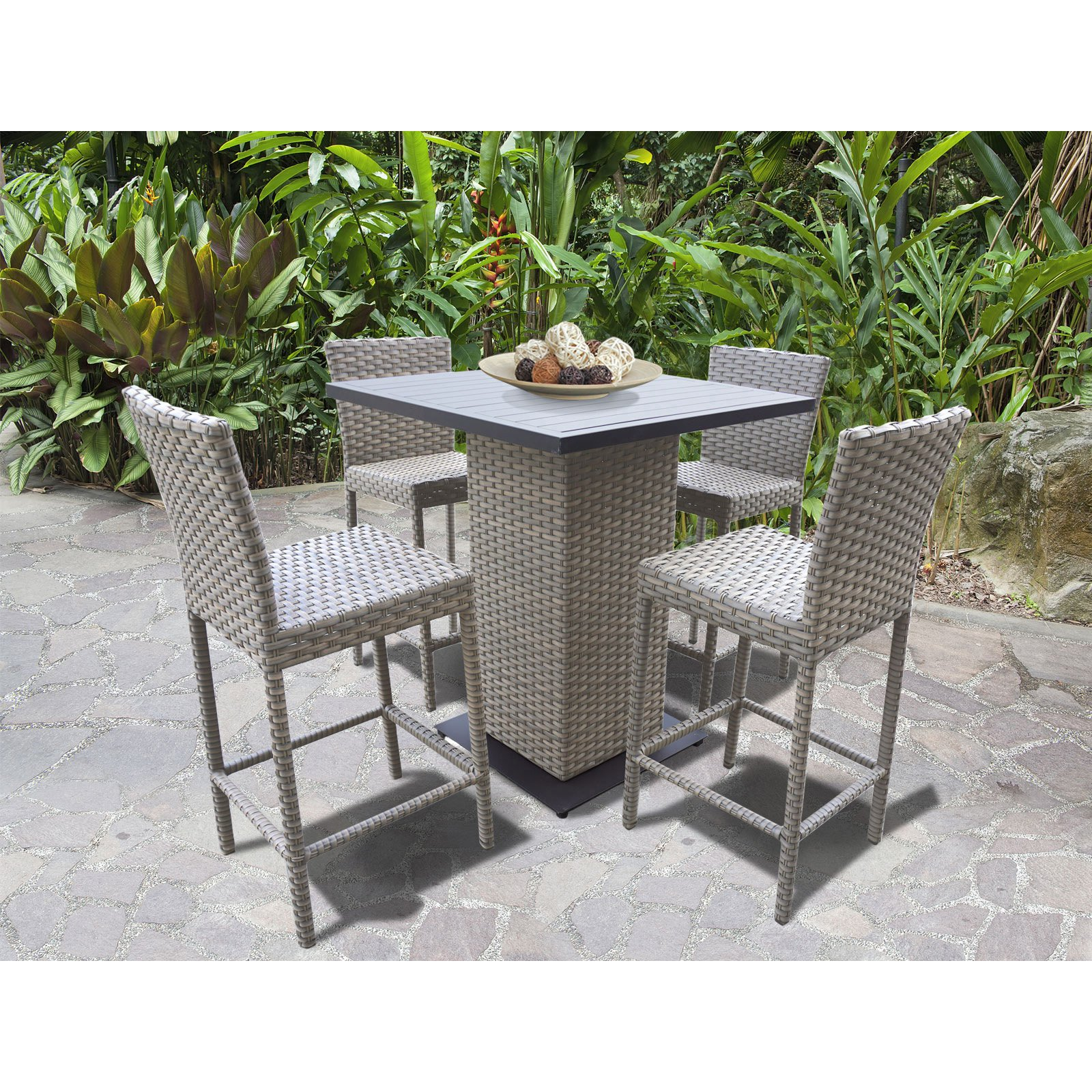 TK Classics Oasis Wicker 5 Piece Outdoor Pub Table Set