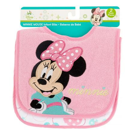 Disney Minnie Mouse Applique Print Infant Bib Set  2 Pack