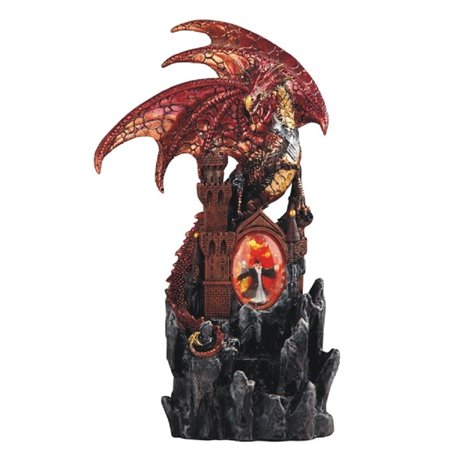 Red Dragon on Castle with LED Light up Wizard Medieval Fantasy Figurine New - Medieval Castle Decorations
