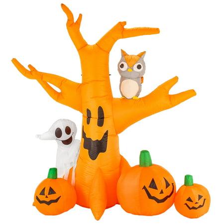 Halloween Haunters 8ft Inflatable Haunted Dead Tree Ghost Pumpkins Owl Yard - Halloween Owl Pumpkin Stencils