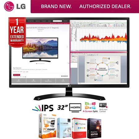 LG 32MA68HY-P 32-Inch IPS Monitor with Display Port and HDMI Inputs + Elite Suite 18 Standard Editing Software Bundle + 1 Year Extended Warranty - Halloween Photo Editing Software