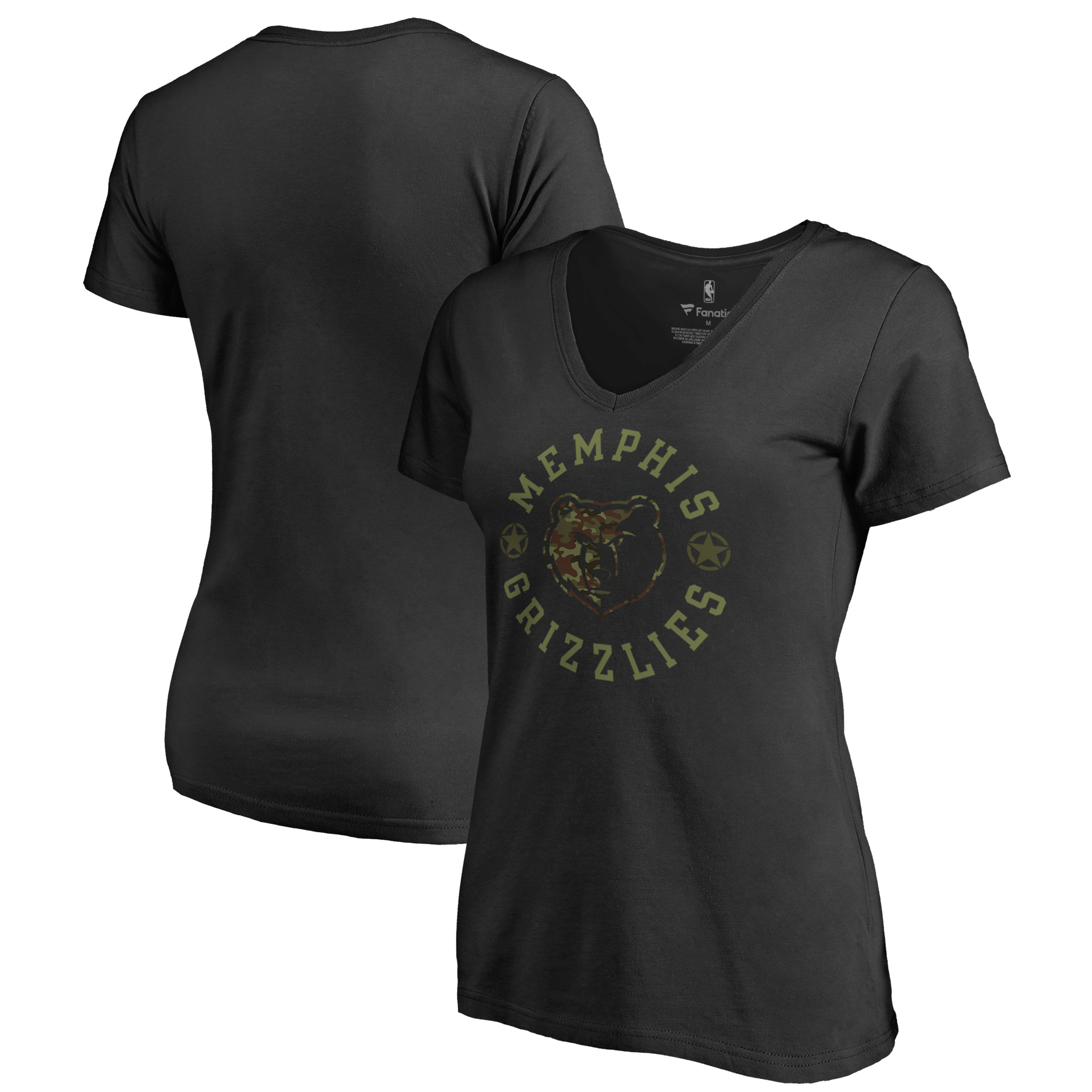 Memphis Grizzlies Fanatics Branded Women's Liberty Camo Plus Size V-Neck T-Shirt - Black