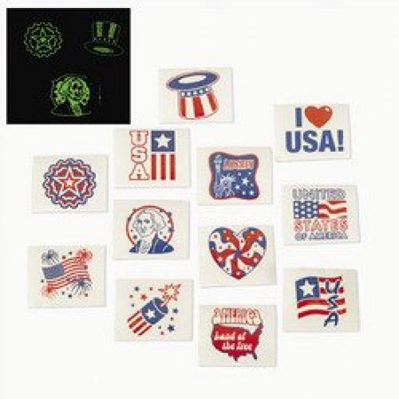 Fun Express Fourth of July Patriotic Glow In The Dark Tattoos - 72 - 4th Of July Glow Products