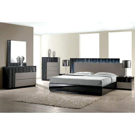 Modern Romania 4 Piece Bedroom Set Queen Size Bed Leather Like Exterior  Mirror Dresser Nightstand Black Lacquer With Zebra Grey Headboard With LED  ...