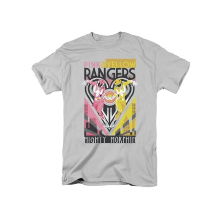 Power Rangers Children's TV Series Pink & Yellow Together Adult T-Shirt - Power Rangers T Shirt Adults
