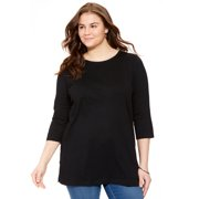 Woman Within Plus Size Scoop Neck Three-quarter Sleeve Perfect Tunic