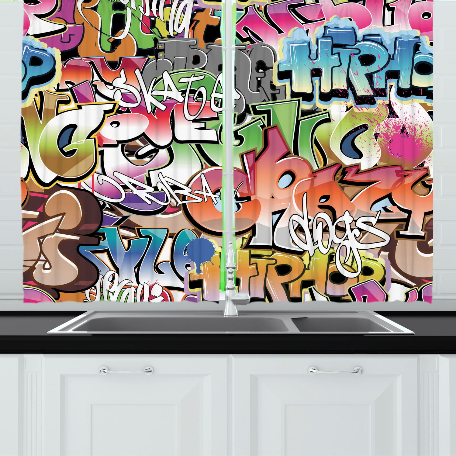 Urban Graffiti Curtains 2 Panels Set Blockbuster Style Graffiti Sprayed Overlapping Blocky Letters Street Art Window Drapes For Living Room Bedroom 55w X 39l Inches Multicolor By Ambesonne Walmart Com Walmart Com