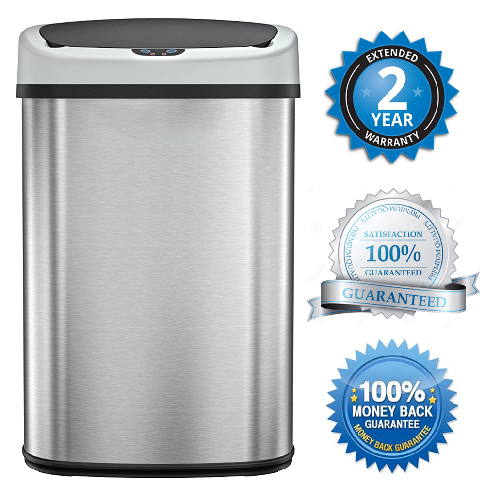 BestOffice Touch Free Sensor Stainless Steel Trash Can, 13.2-Gallon