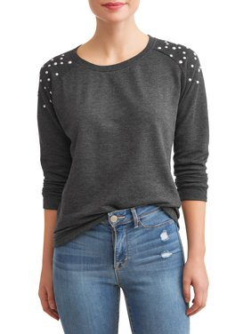 05c0ad07bdc Product Image Women s French Terry Pullover with Pearl Trim (Available in  Sizes S-3X)
