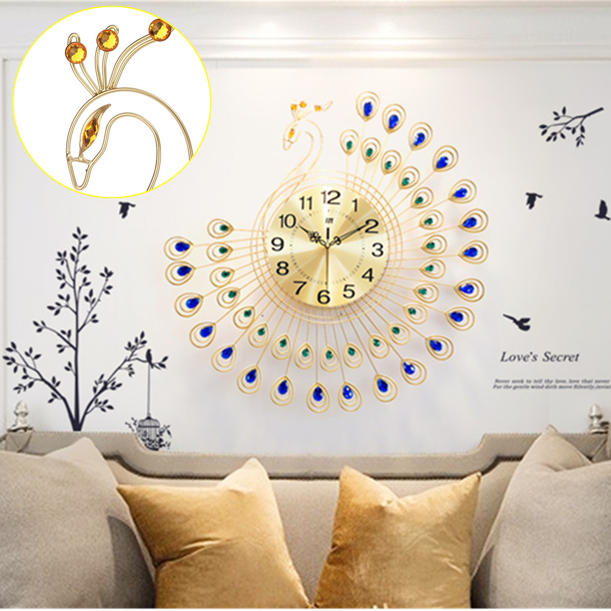 21 inch 3D Large Metal Crystals Decorative Peacock Wall Clock Wall Decor Luxury Diamonds Jewelry Creative Gift for Office/Kitchen/Bedroom/Living Room