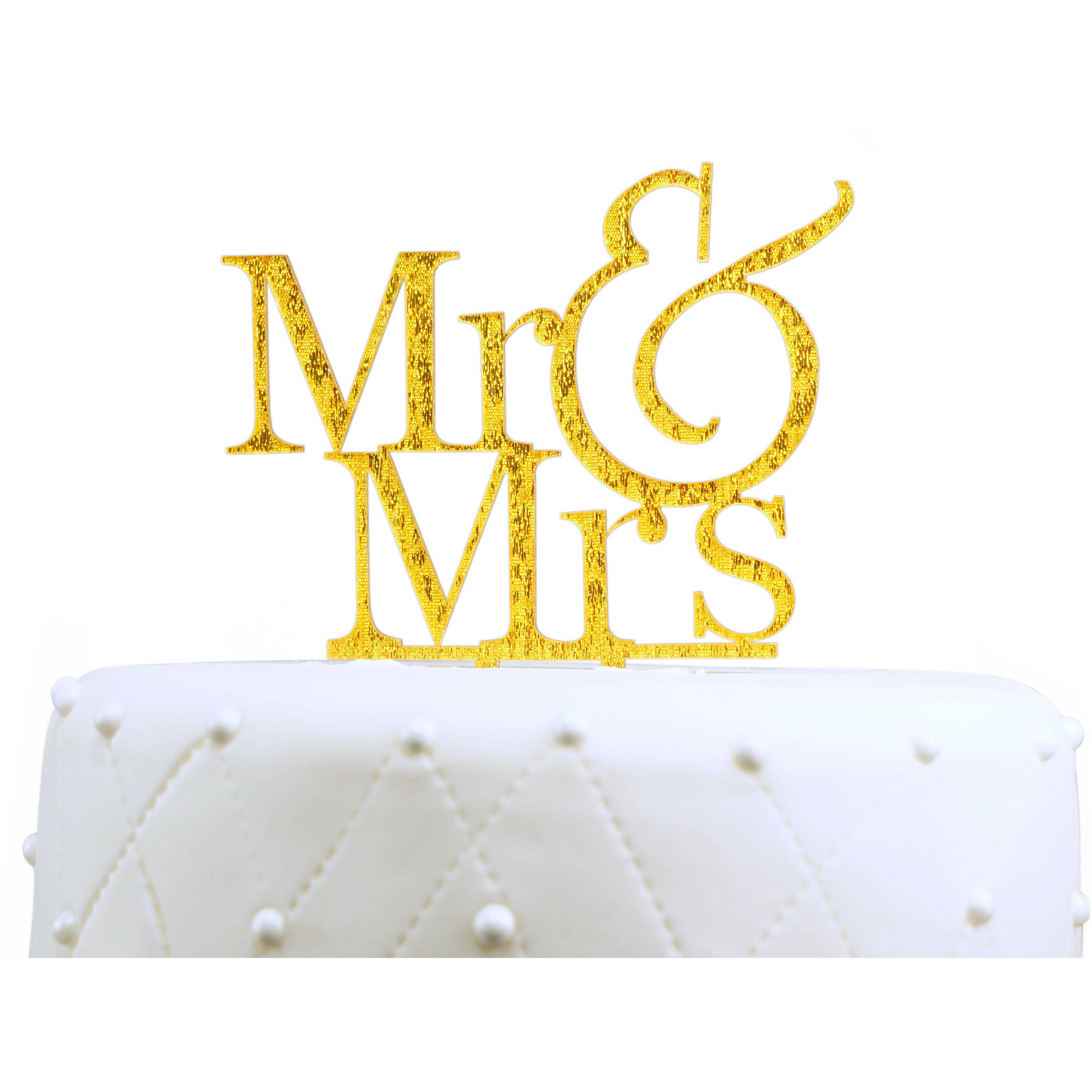 "Unik Occasions Gold Glitter ""Mr. and Mrs."" Acrylic Cake Topper"
