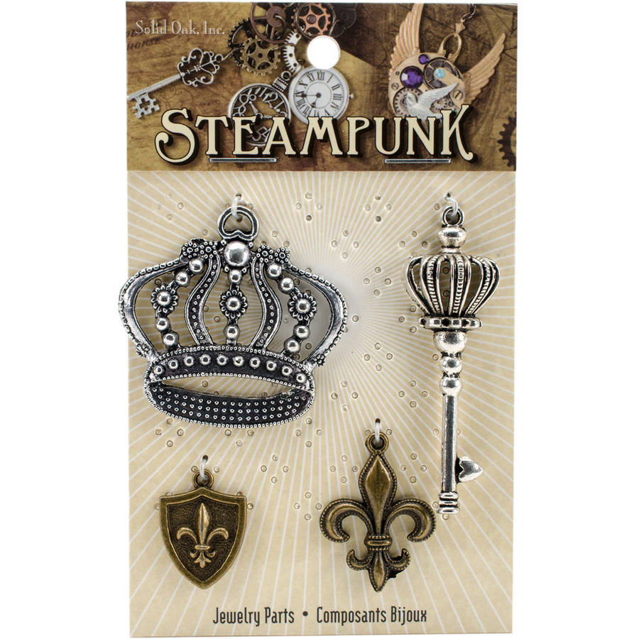 Steampunk Metal Accents 4pk, Crowns & Fleur De Lis