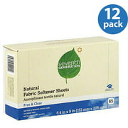 Seventh Generation Free & Clear Natural Fabric Softener Sheets, 65 sheets, (Pack of 12)