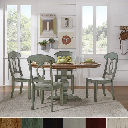 Tribecca Home Eleanor Oak And Sage Green Solid Wood Oval Table 5 Piece Dining Set With Napoleon Back By