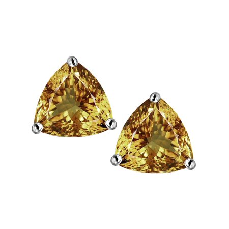 Star K Trillion 7mm Simulated Imperial Yellow Topaz Earrings Studs In Sterling Silver