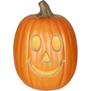 "Gemmy Lighted Jack-O-Lantern 12"" Happy Pumpkin Halloween Decoration"