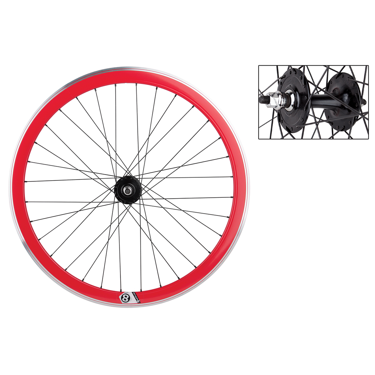 Origin8 TA42 700c Bike Wheelset Red MSW FX/FW Loose Hub