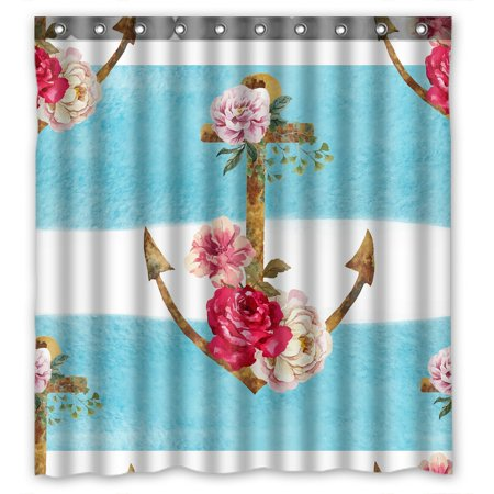 PHFZK Nautical Theme Shower Curtain, Watercolor Blue Stripes Anchor Flowers Polyester Fabric Bathroom Shower Curtain 66x72 inches - Nautical Themed Fabric