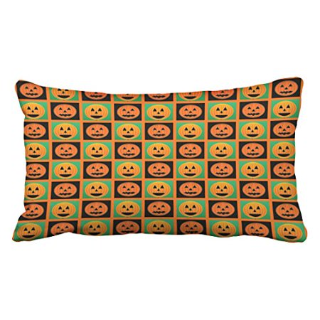 RYLABLUE Halloween Pumpkin Faces Pattern Throw Pillow Covers Cushion Cover Case 20X30 Inches Pillowcases Two Side - image 1 de 1