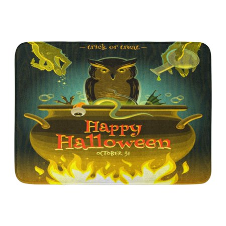 GODPOK Owl Cooking Halloween Witch Cooks Poison Potion in Cauldron Brew Spell Rug Doormat Bath Mat 23.6x15.7 inch - Halloween Cock