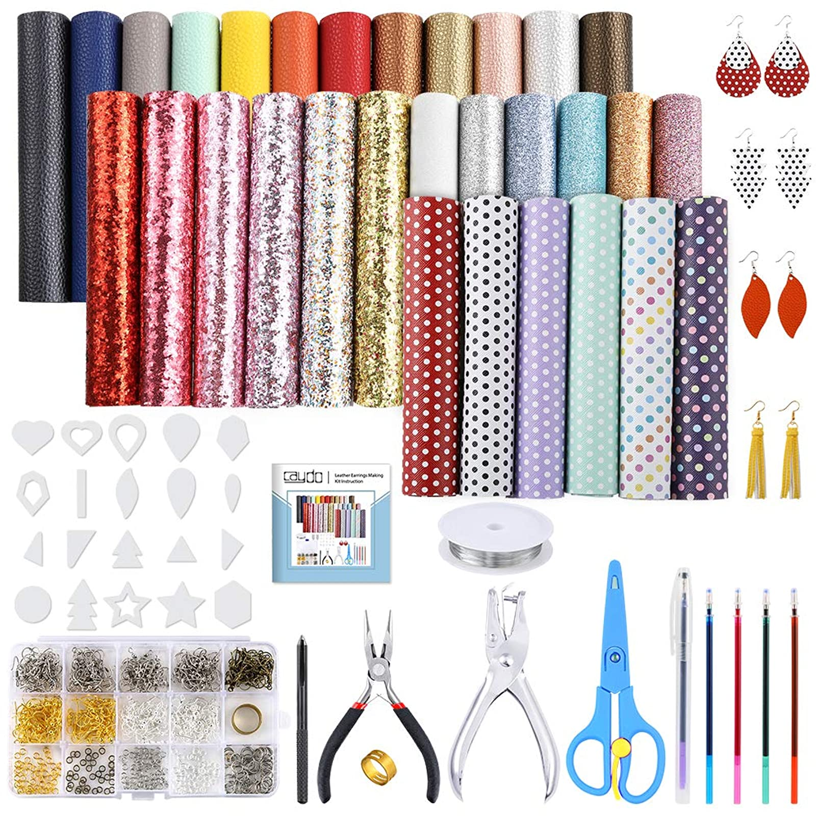 Instructions Caydo 16 Pieces 6.3 x 8.3 Embossed Leather Earring Making Kit with 4 Style Leather Sheet Jump Rings for Earrings Making Supplies Earring Hooks