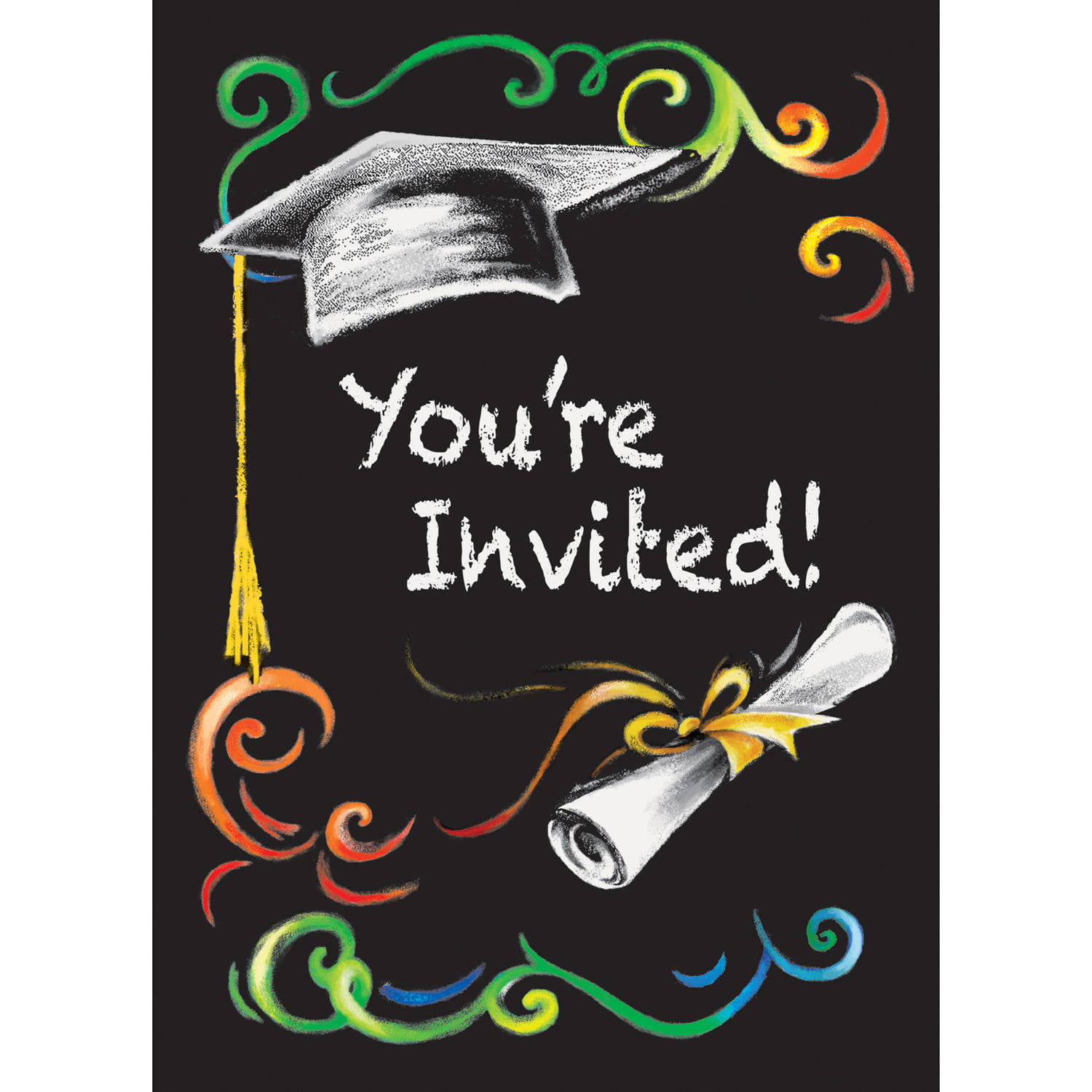 chalkboard graduation invitations  8ct