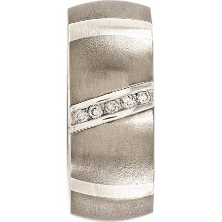 Edward Mirell Titanium & Sterling Silver .10ctw Dia 10mm Ring - image 2 de 7