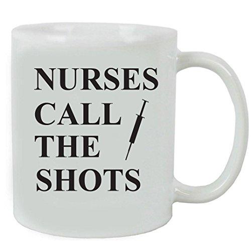 CustomGiftsNow Nurses Call the Shots Ceramic Coffee Mug and Gift Box - Great Gift for a CNA, RN, LPN Nurse, Nursing Students or Nursing Graduate