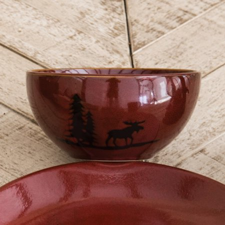 Moose and Bear Lodge Stoneware Moose Bowl - Rustic Kitchen Decor