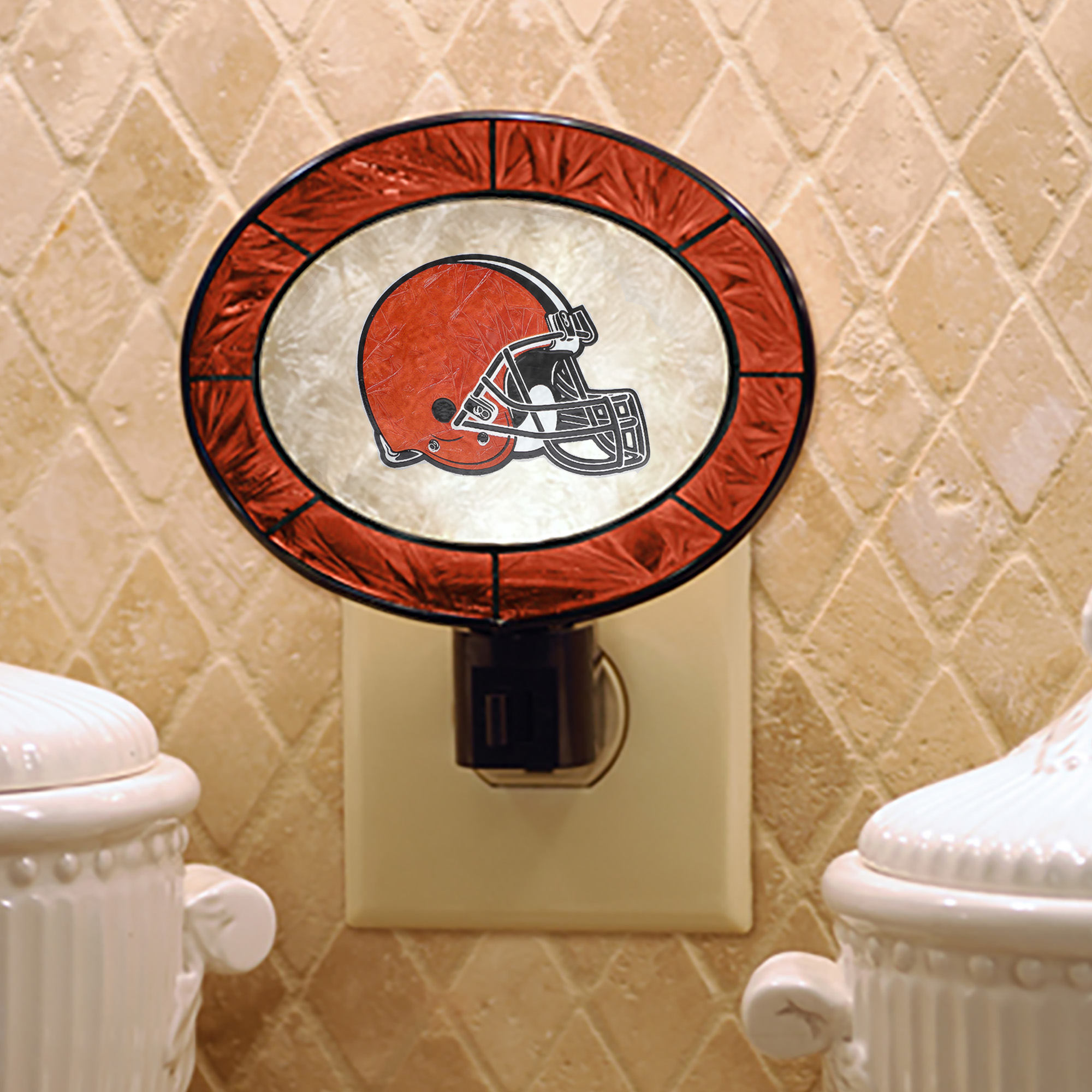 Cleveland Browns Historic Logo Hand-Painted Glass Nightlight - No Size
