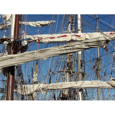 Canvas Print Blue Sky Traditions Mast Sailboat Rope Strings Stretched Canvas 32 x (Ropes Masts And Sails Of A Boat)