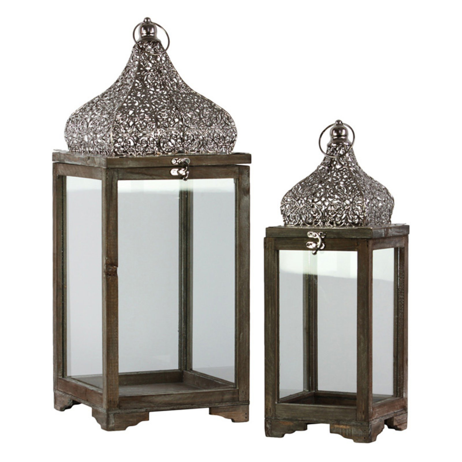 Urban Trends Collection: Wood Lantern, Natural Wood Finish, Brown
