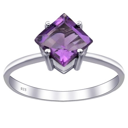 Orchid Jewelry 925 Sterling Silver 0.95 Carat Amethyst Square Cut Engagement Ring Size -8