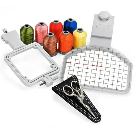 - Cap Hat Embroidery Hoop Package - Includes Free Sock Hoop, 7 Spools of Embroidery Thread and Embroidery Scissors