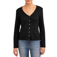 Deals on Time and Tru  Womens Rib Button Front T-Shirt