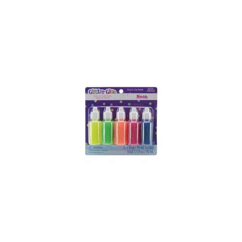 Glitter Glue .7 Ounces 5/Pkg-Neon