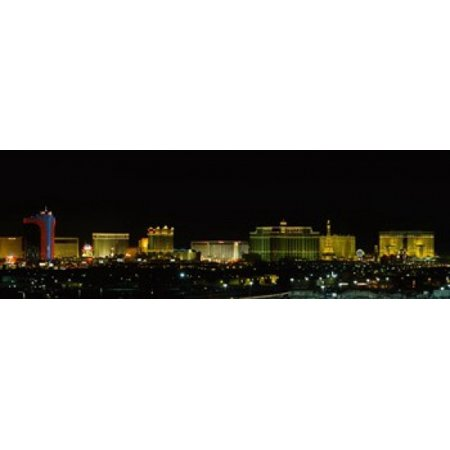 Buildings lit up at night in a city Las Vegas Nevada USA Canvas Art - Panoramic Images (15 x 5)
