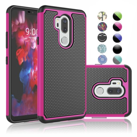 LG G7+ ThinQ Case, LG G7 Sturdy Cover, Case For LG G7 ThinQ, Njjex Shock Absorbing Dual Layer Silicone & Plastic Bumper Rugged Grip Hard Protective Cases Cover For LG LM-G710 / LG G7 (2018)