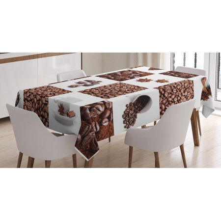 Kitchen Tablecloth, Coffee with Roasted Beans Concept Collage Hearts Stars Espresso Latte Mugs Aroma, Rectangular Table Cover for Dining Room Kitchen, 60 X 84 Inches, Brown White, by Ambesonne](Coffee Table Cloth)