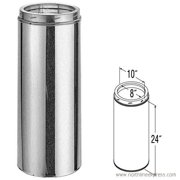 """8"""" X 24"""" Dura Vent Duratech Chimney Length, 430-Alloy Stainless Inner Liner, Galvalume Outer"""