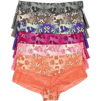 ToBeInStyle Womens' Pack of 6 No Show Hibiscus Print Hipsters