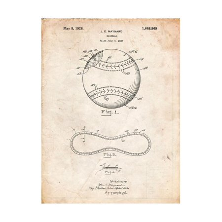 Baseball Stitching Patent Print Wall Art By Cole Borders - Baseball Stitching