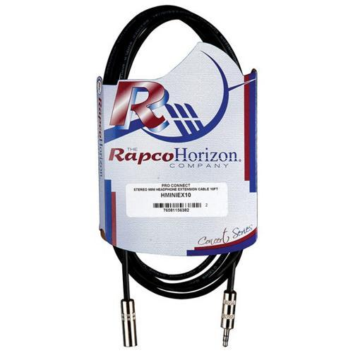 RapcoHorizon Stereo Headphone Extension Cable 3.5MM Stereo Mini Male to 3.5MM Stereo Mini Female 10'