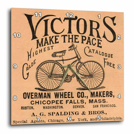 3dRose Print of Vintage Bicycle Ad With Words, Wall Clock, 10 by 10-inch